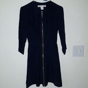 100% Silk Amanda Uprichard Navy Zip Dress, Sz. P